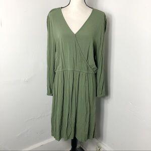 Old Navy Faux Wrap Long Sleeve Green Dress XL